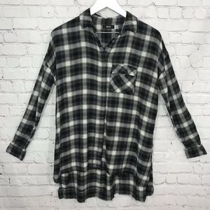 BDG Flannel Tunic Top Button Down Plaid Shirt